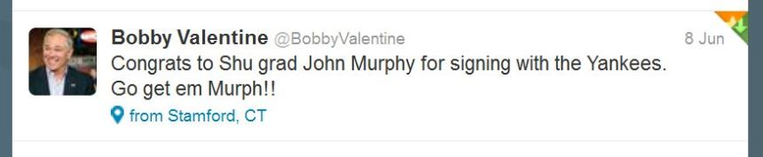 Sacred Heart's new AD took to Twitter to congratulate John Murphy.