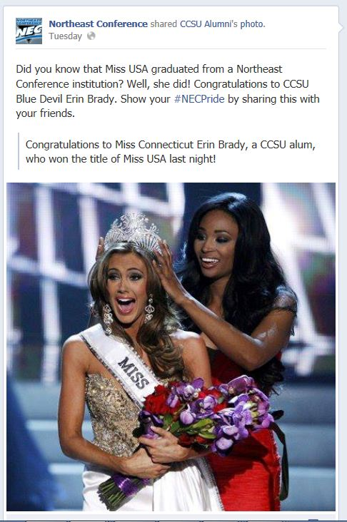 There she is! Miss USA 2013. CCSU Alumni Organization posted this photo to its Facebook page.