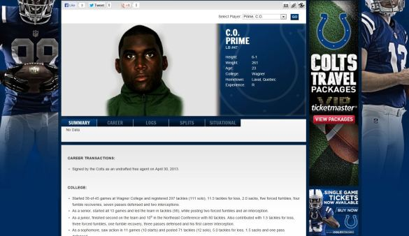 screencap Prime Colts profile
