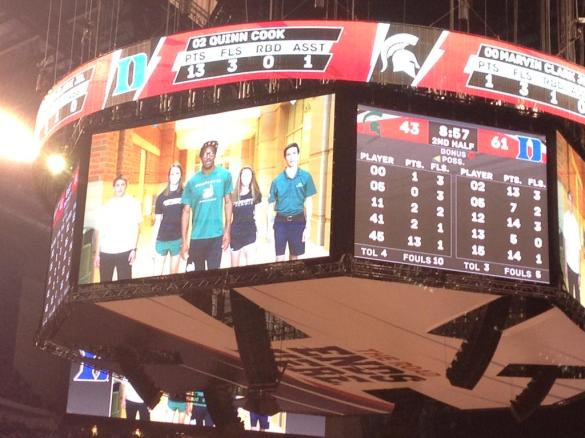 Charlotte's 'It's On Us' video plays on the big screen at the 2015 NCAA Men's Basketball Championship Game (Photo: @NCAA).