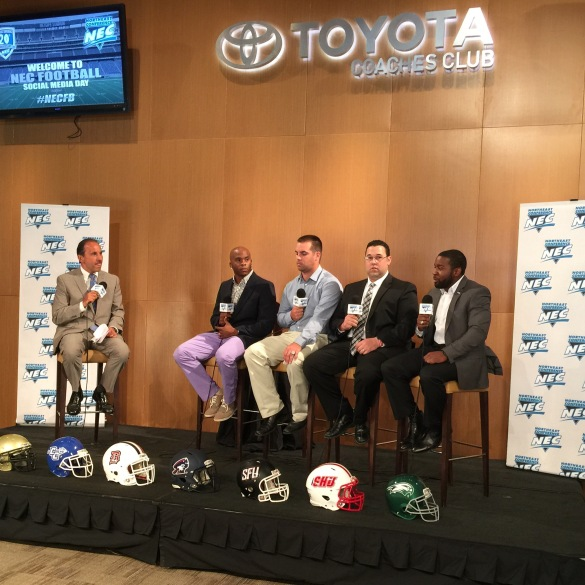 The #NECalumni Roundtable discussion at MetLife Stadium on July 23, 2015.