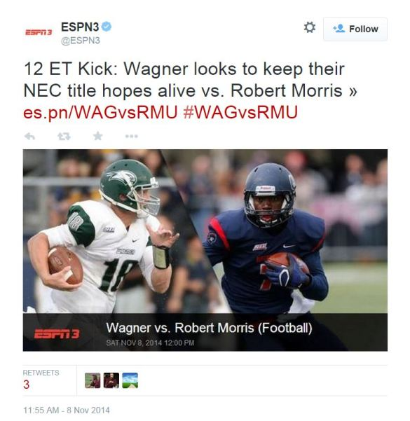 ESPN3 will be the exclusive national carrier of NEC Football for the third consecutive season.