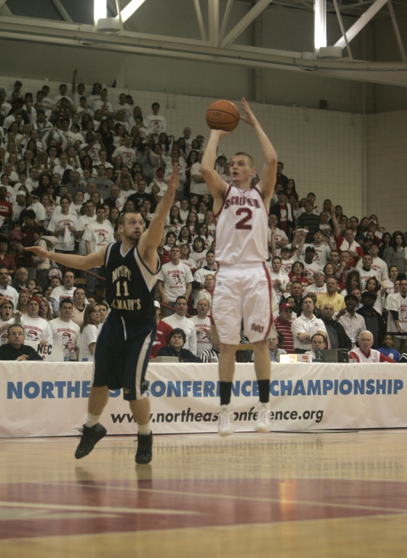Ryan Litke (above) scored 7 points for Sacred Heart in the 2008 #NECMBB Championship Game, which was played before a soldout crowd and aired live on ESPN2.