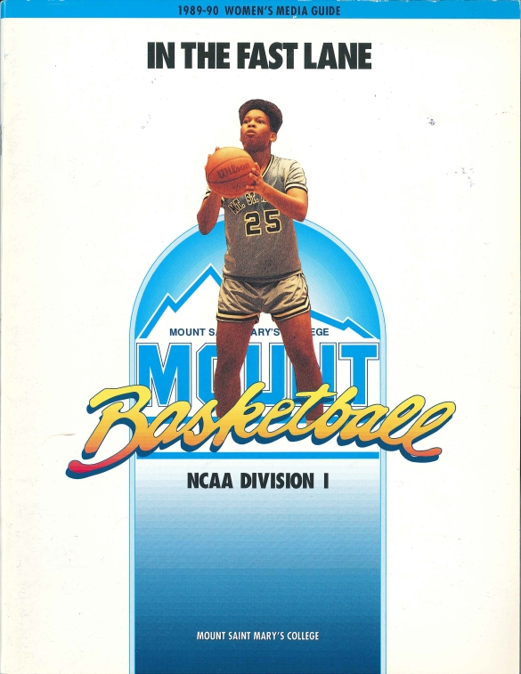 Kim Rhock (above) was featured on the cover of the 1989-90 Mount St. Mary's media guide. The team proceeded to post a 23-6 record that season.