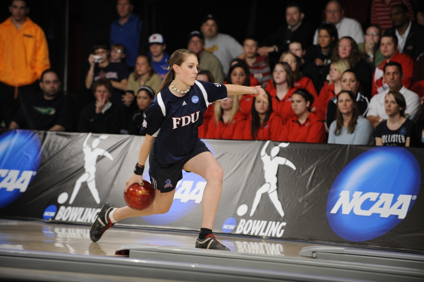 Danielle McEwan competes at the NCAA Bowling Championships at Carolier Lanes in North Brunswick, NJ on April 10, 2010. SHOT BY: BEN SOLOMON SHOT FOR: SARA NAGGAR/FDU ATHLETICS