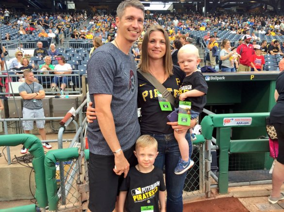 #RMCMB head coach Andy Toole throw out the first pitch to celebrate RMU Night at PNC Park. (Photo - @Pirates)