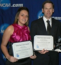 Jones receives her All-America award at the 2011 NCAA Championship banquet.